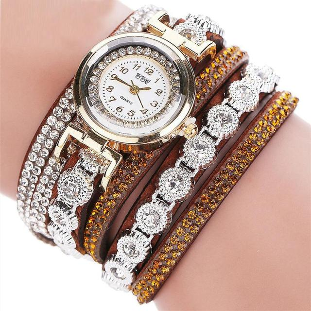 2018  New CCQ Women Fashion Casual AnalogQuartz Women Rhinestone Watch Bracelet Watch Gift   c828
