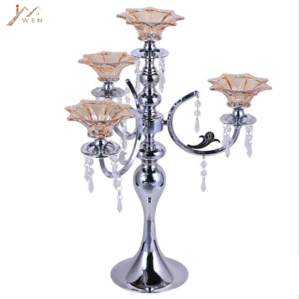 Stříbrný čtyřhlavý svícen H 56 cm Svícen s lotosovými svícny Vynikající design Svatební vrchol s přívěsky