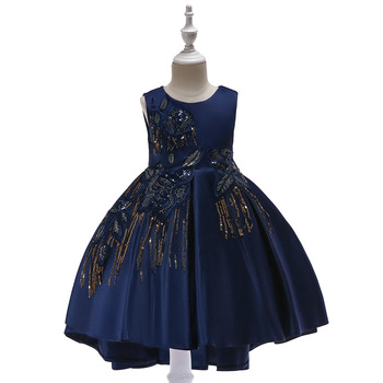 2019 Navy Blue Flower Girl Dresses Lovely 3D Floral Flower Tiered Tulle Little Girls Prom Dress Pageant Gown Custom Made lovely lace flower girl dresses hi low jewel neck pink long sleeve pageant dresses fluffy tiered satin girls pageant dress