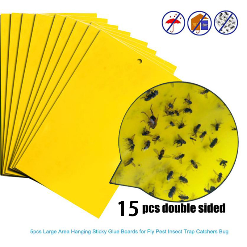 15pcs Sheets Strong Flies Sticky Traps Bugs Sticky Catching Aphid Insects Pest Killer Outdoor Fly Board Bait Flies Double Traps