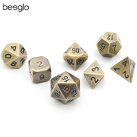 Ancient Bronze Solid Metal Polyhedral D&D Dice Set of 7 Metal RPG Role Playing Game Dice for RPG MTG Board Games