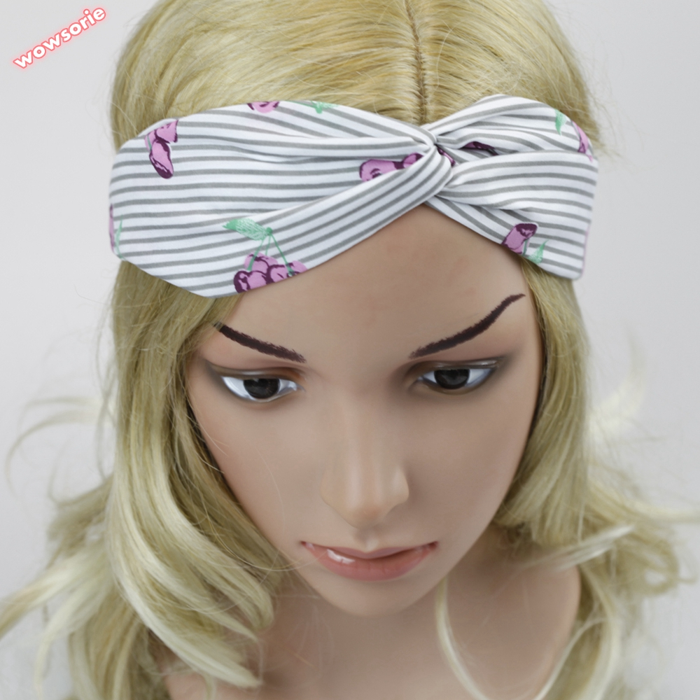 women Korean hair accessories stripe Shar Pei cartoon cactus cloth cross hair band knot headwrap women headband elastic turban