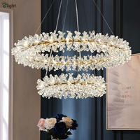 Post Modern Lustre K9 Crystal G4 Led Chandelier Foyer Luxury Plate Gold Circle Ring Adjustable Hanging Chandelier Lighting