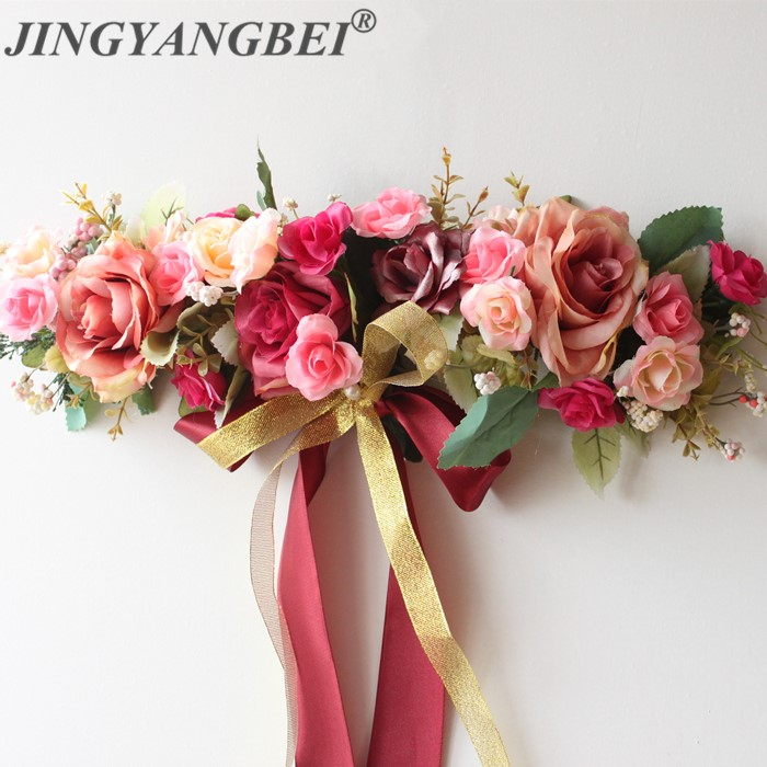 Artificial Flowers Red Rose Vine Door Lintel Flower Mirror