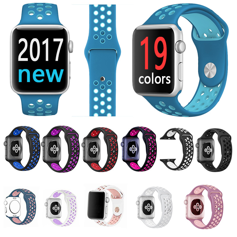 FOHUAS Brand Silicon Sports Band Colorful Wrist Strap For Apple Watch 38 42mm Black Volt Bracelet