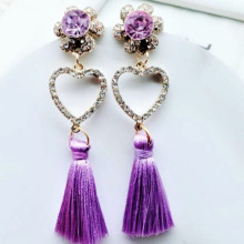 Romantic Crystal Heart Shaped Thread Earrings Fashion Bohemian Tassel Women Wholesale Jewelry Fringed Dangle