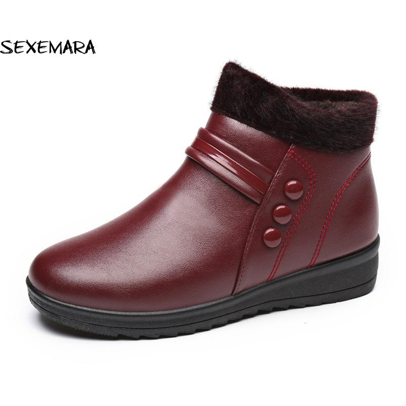 Women Boots  Mother Snow Boots 2017 Plush Ankle Winter Boots Women Flat Warm Shoes  Plus Size 41