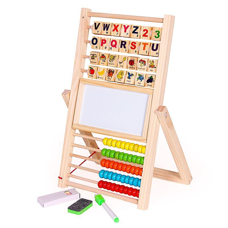 Multifunction Abacus Learning Stand Wooden Montessori Toys Counting Cognition Board Early Educational Math Toy For Children Gift
