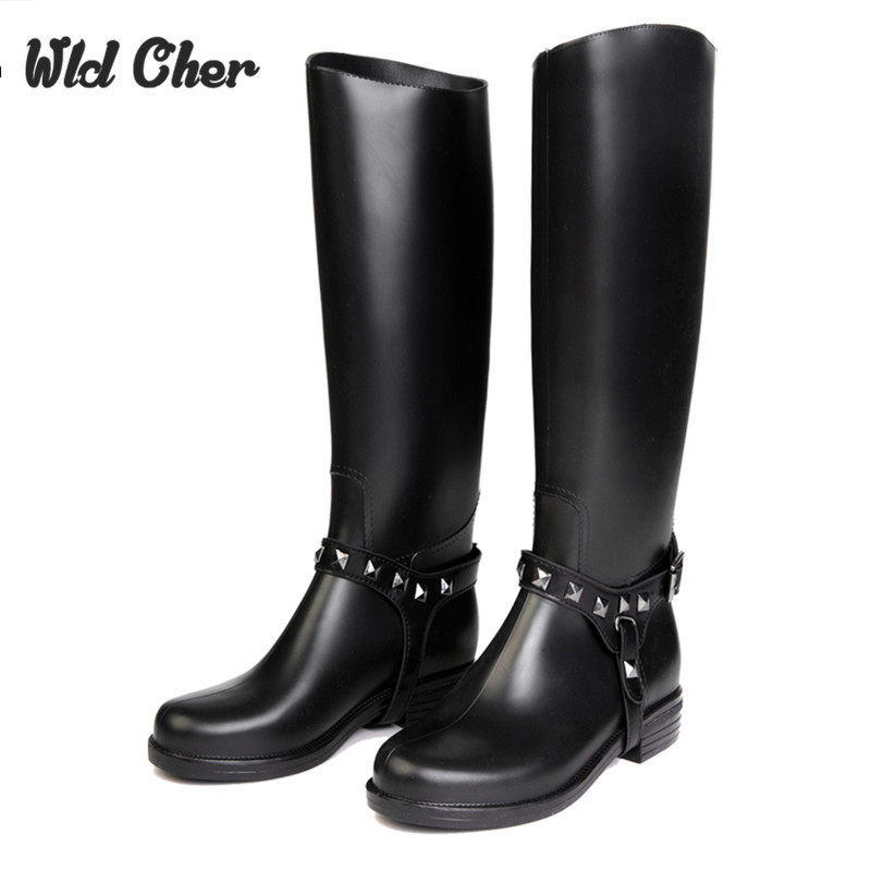 2017 New Fashion Women Shoes Punk Style Heel Zipper Riding Boots Shoes Knight Tall Boots Women Rain Boots Warm In Winter Size 40 hellozebra punk style tall boots women s pure color rain boots outdoor rubber water shoes for female 2017 new fashion design