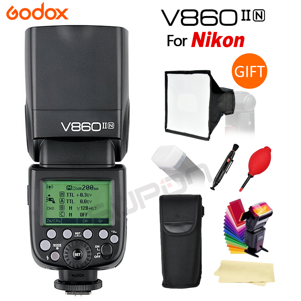 Godox the Flash V860II V860II-N GN60 i-TTL HSS 1/8000s Speedlite Flash Li-ion Battery for Nikon DSLR Cameras Free Shopping godox v860iis flash speedlite 2 v860ii s ttl hss 2 4g li ion battery x1t s trigger for sony dslr cameras supon free gift kit