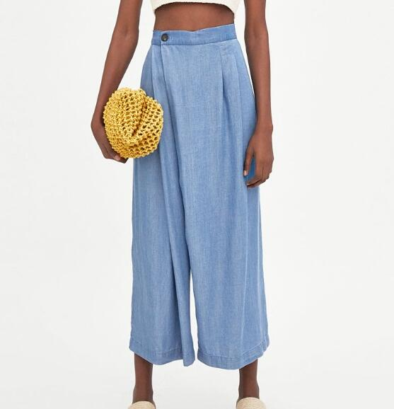 WISHBOP Новый 2018SS женские синие Tencel свободно облегающие брюки с вытачки боковой кнопки с карманами укороченные штаны