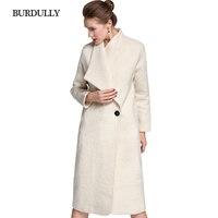 BURDULLY 100 Wool Coat Women Winter 2018 New Arrivals Long Outwear White Elegant Jackets Coat Warm