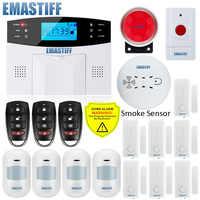 Sistema de alarma de seguridad con pantalla LCD para el hogar, sensor de movimiento PIR con antena integrada para puerta, tarjeta SIM GSM, con sirena flash para detección de humo