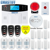 NEW Built in antenna Door Gap Sensor PIR Motion Detector Wireless LCD GSM SIM card House security Alarm system Smoke Flash Siren