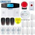 Nueva antena incorporada puerta Gap Sensor Detector de movimiento PIR inalámbrico LCD GSM tarjeta SIM casa Sistema de alarma de seguridad humo Flash sirena
