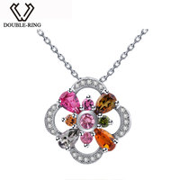 DOUBLE R Real 925 Sterling Silver Pendant Women Tourmaline Necklaces Pendants Valentine'S Day Fine Jewelry Customized CAP02433A