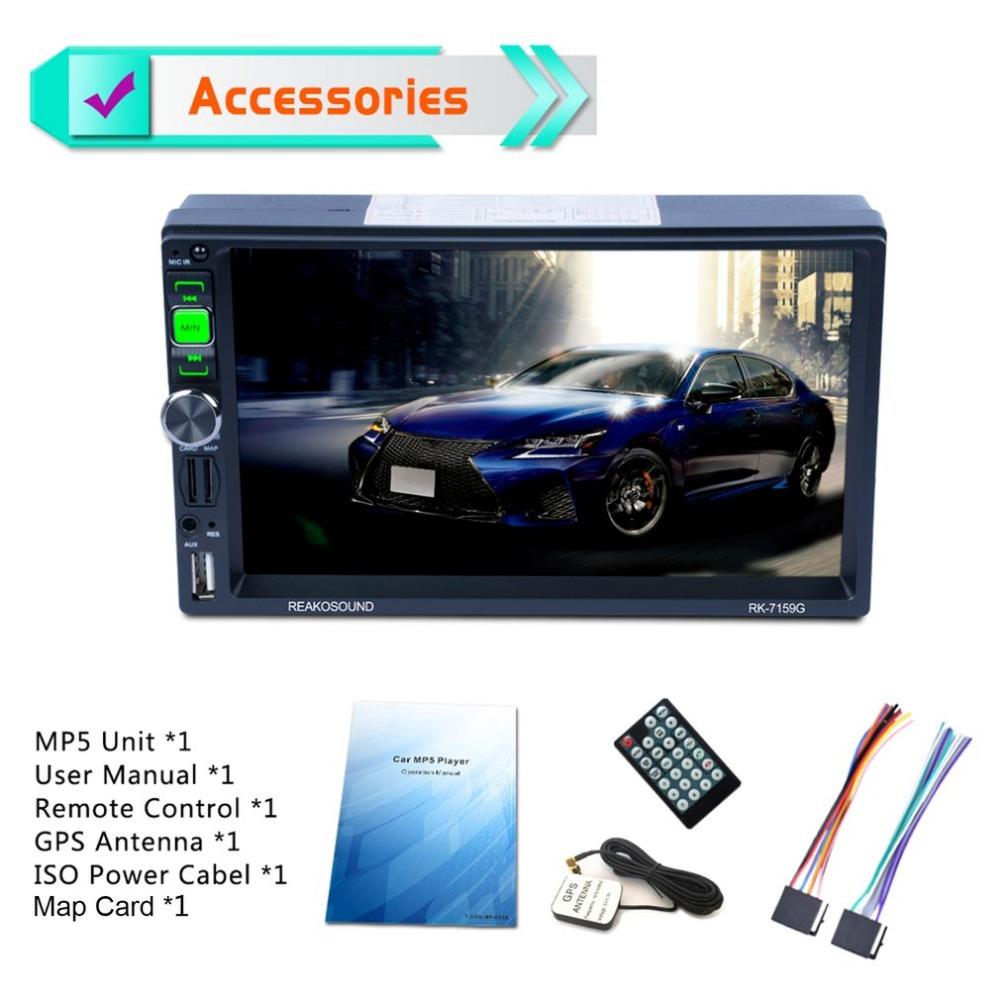 купить 7Inch Full HD 1080P Car DVD MP5 Player GPS Navigator Bluetooth FM/RDS Radio Car Multimedia Player Support Mirrorlink по цене 4985.58 рублей