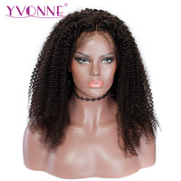 YVONNE Brazilian Virgin Kinky Curly Wig With Baby Hair Natural Color 250 Density Lace Front Human Hair Wigs For Black Women