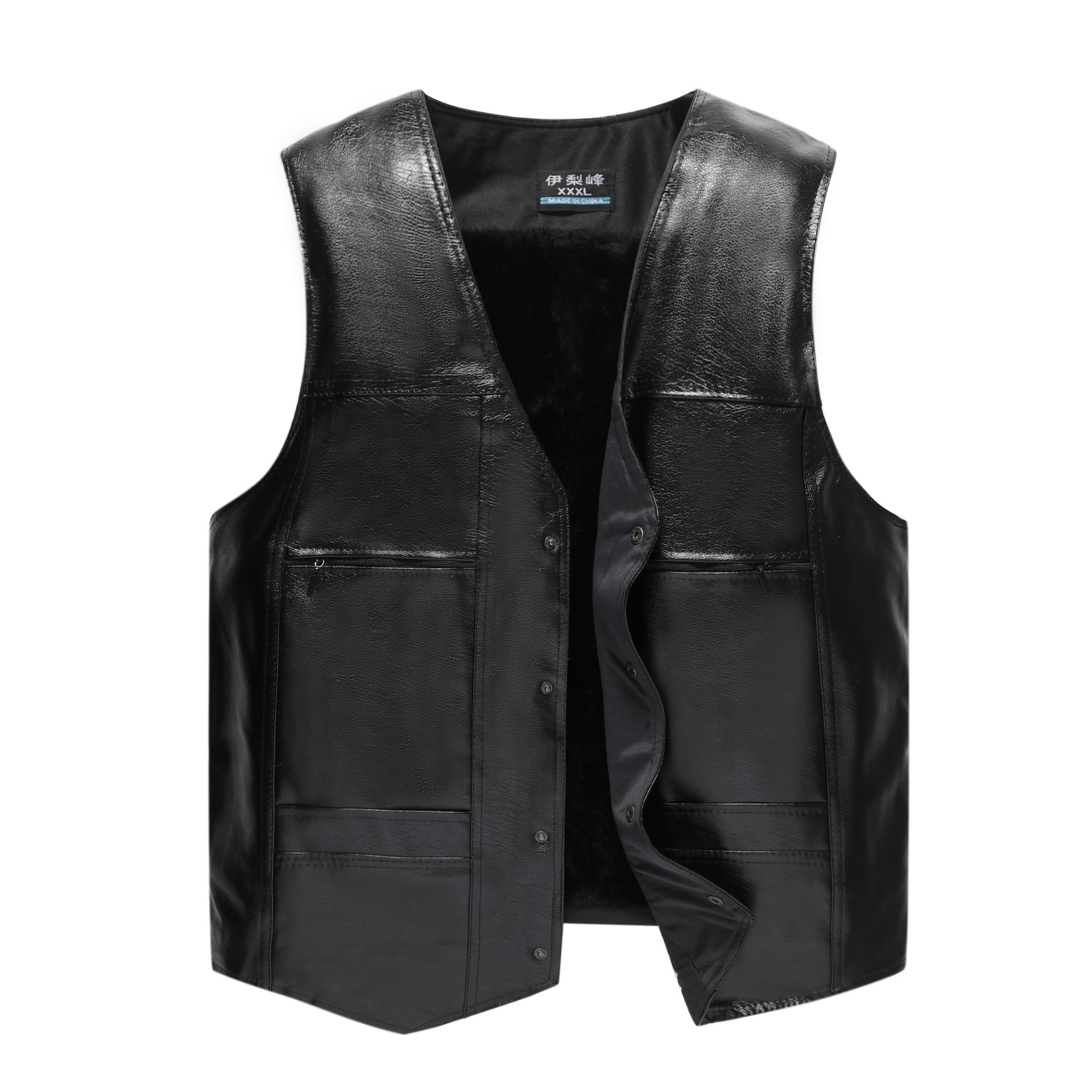 HOO 2020 More Men's PU Leather Vest Fashion V-neck Warm Vest