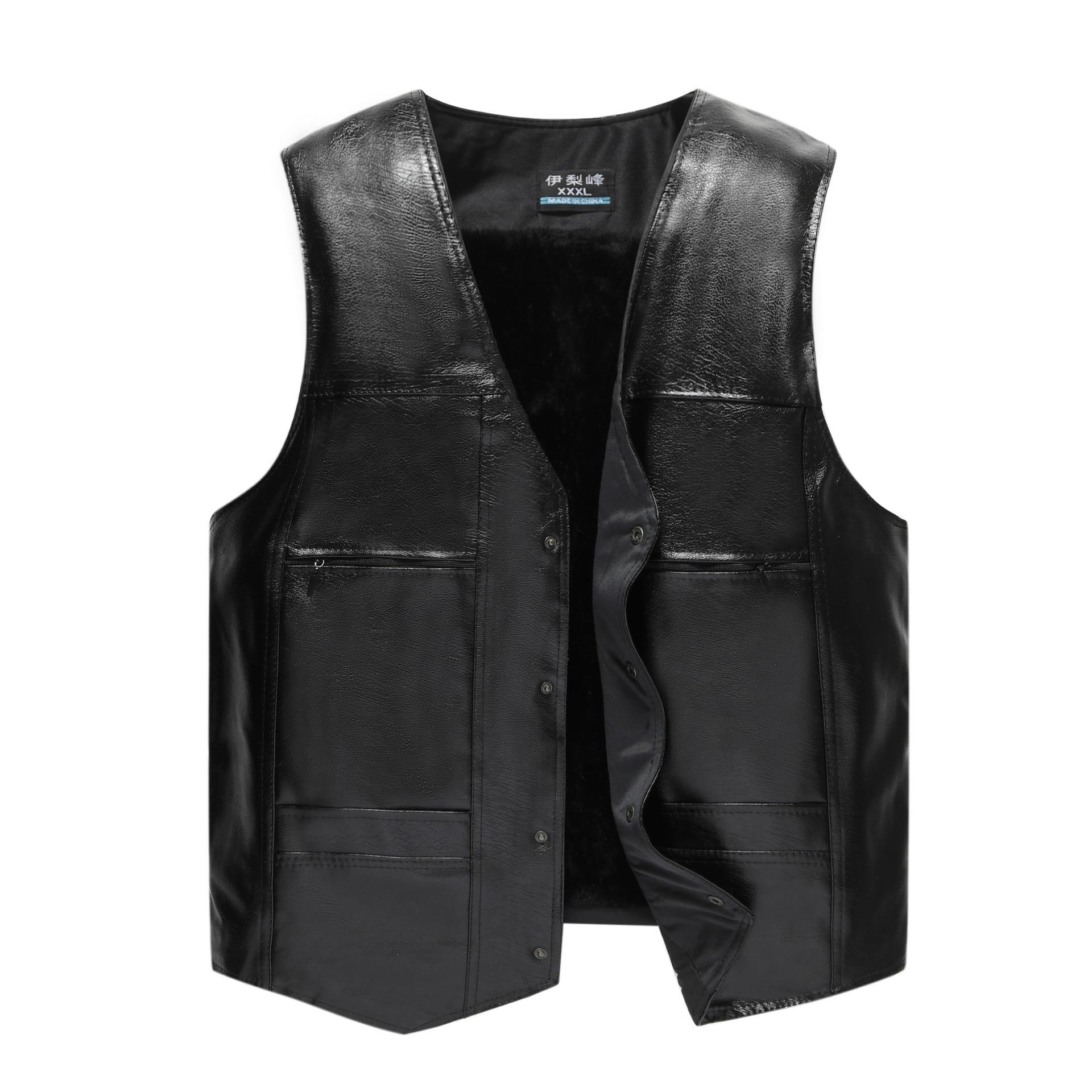 HOO 2020 More Men's PU Leather Vest Fashion V-neck Warm Vest