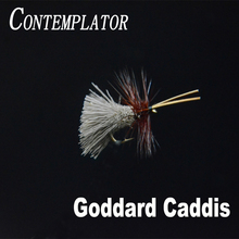 CONTEMPLATOR 4pcs/box 12# Goddard Natural Caddis stillwater pattern dry flies floating on water deer hair body fly fishing lure