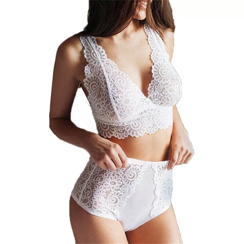 Women Sexy   Bra     Set   Seamless Embroidery Bralette Erotic Lace Underwear Transparent Top Push Up Lingerie   Set   Bathing Suit Stripper