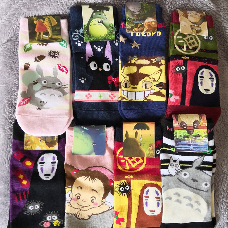 cartoon   socks   cute totoro   socks   kiki's delivery service jiji cat spirited away catbus kawaii miyazaki studio ghibli japan 10pair