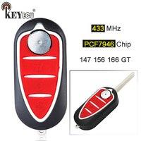 KEYECU 433MHz PCF7946 Chip Replacement 3 Button Flip Folding Remote Car Key Fob for Alfa Alfa Romeo Mito 2008 (Delphi BSI)