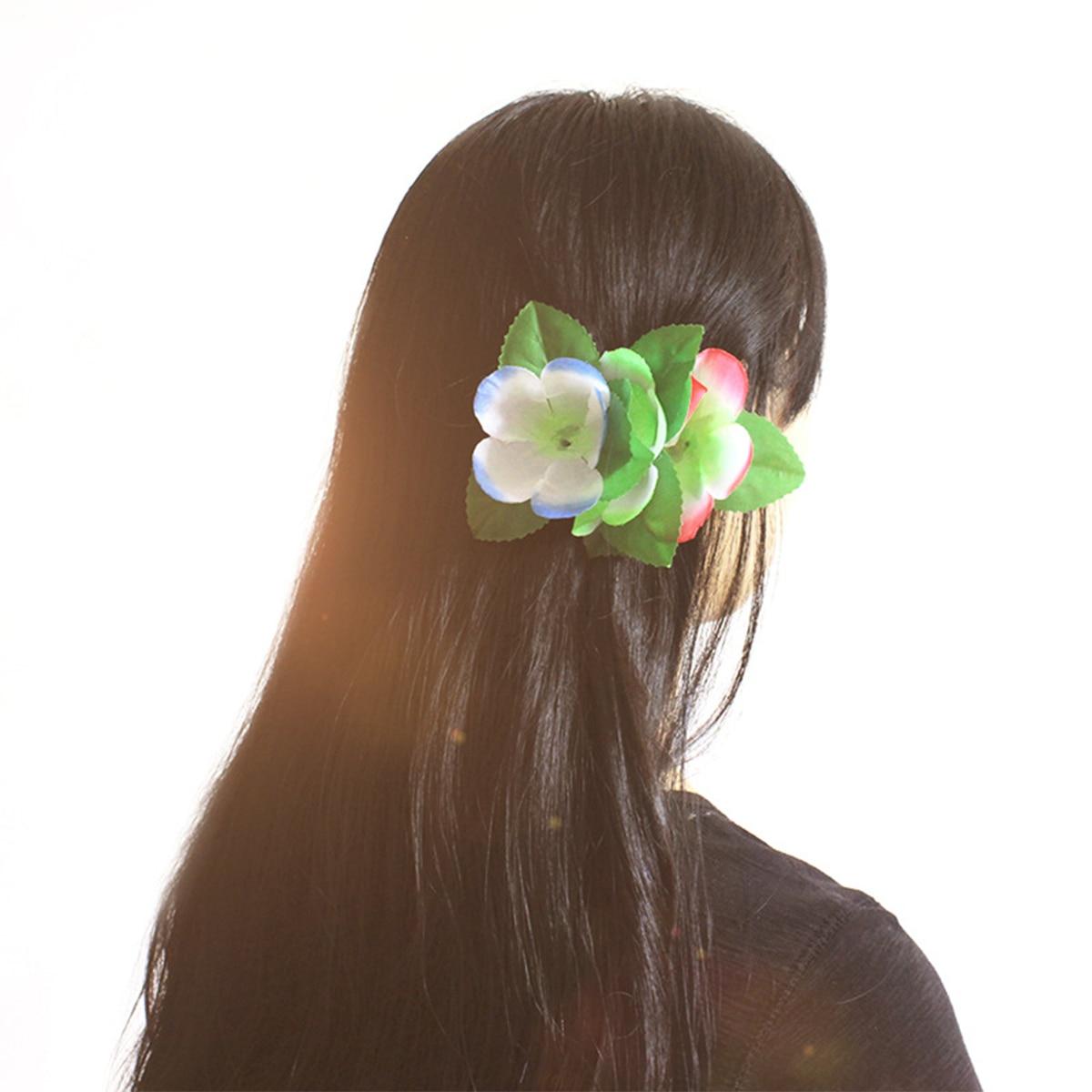 12pcs Hawaiian Flowers Hair Clips Bridal Barrette Tropical Beach