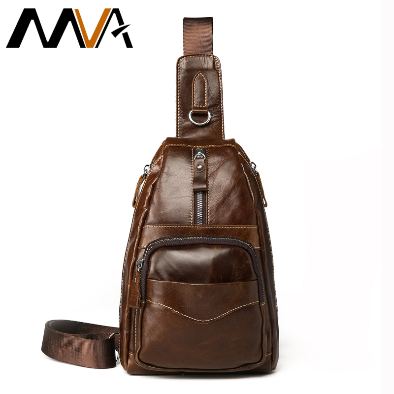 MVA Vintage Genuine Leather Shoulder Bag Leather Men Chest Bag Small Men Messenger Bags for Man Crossbody Bags Casual Chest Pack bullcaptain messenger bag leather men bag genuine leather waist pack small shoulder crossbody bags fashion ipad belt chest bags