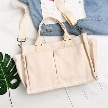 New Women's Shoulder Bag Beach Simple Wild Portable Diagonal Large Capacity Pouch Travel  Tote Canvas Bag Handbag Women 1