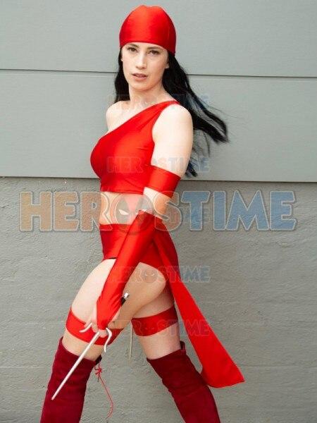 Elektra Natchios The Hand Cosplay Costume Lycra Spandex Daredevil anti-hero Zentai Bodysuit Custom Made