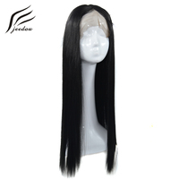 jeedou Lace Front Wig Long Straight 14 20 26 35 65cm 350g Synthetic Hair Real Natural Lifelike Black Color For Women's Wigs