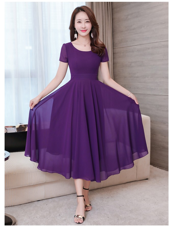 2019 Hot selling girls fashion summer design chiffon soft dresses purple women casual slim elegant nice