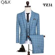 MS63 Classic 2017  Checks Men suit Blazers Retro Gentleman Style Tailor Made Slim Fit Plus Size Wedding Suits For 3 Piece