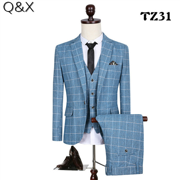 MS63 classique 2019 chèques hommes costume Blazers rétro Gentleman Style sur mesure Slim Fit grande taille costumes de mariage pour hommes 3 pièces