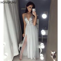 HONGFUYU Sexy Straps Silver Sequins Long Prom Dresses with Slit Full Length Evening Dress robe de soiree Backless Party Gown