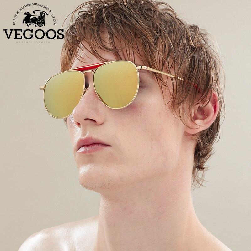 142886bdc1e66 VEGOOS Polarizados Verdadeira Pilotos Óculos De Sol Novo Homem Mulheres  Shades Espelhado Lens Piloto Eyewear Dos Homens Designer de Marca Original  Masculino ...