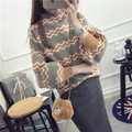 2016 New Arrival Women's Autumn Clothing Full Sleeve Pullover Sweater Turtleneck Female Knitting Striped Tops 2 Colors In