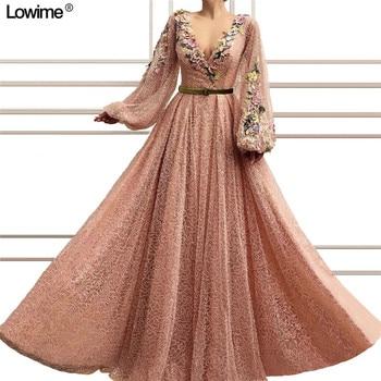 45e5144c8 De tela con lentejuelas vestido de noche largo mangas una línea de cuello en  V fiesta de graduación vestido apliques vestidos de noche 2019