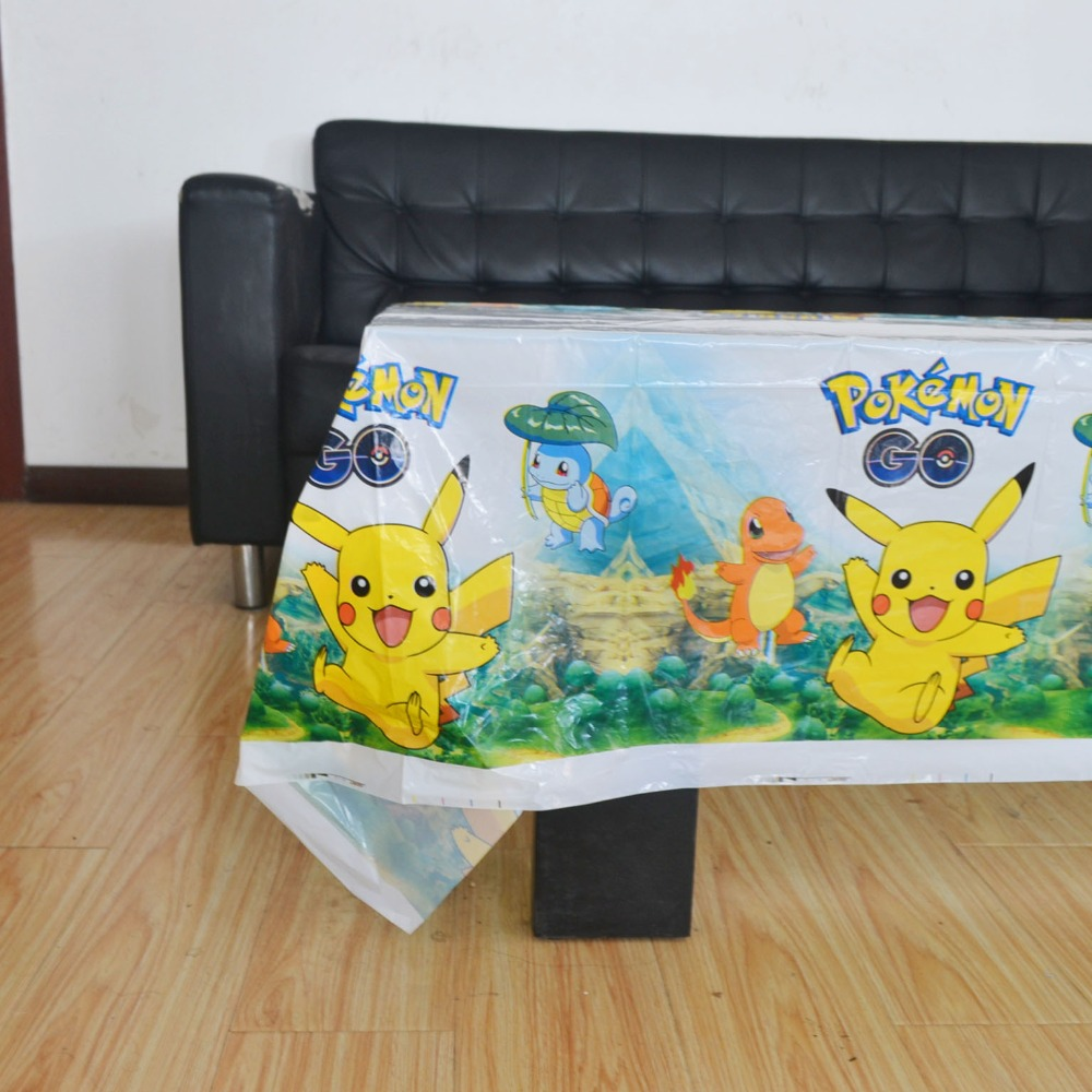 108x180cm Pikachu Pokemon Tablecloth Theme Party  Kids Birthday Decoration Supplies