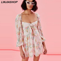 Pink sexy princess dress girls A line lining natural waist print backless square collar short party dress women bloggers style