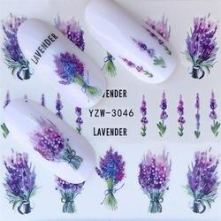 FWC наклейки для ногтей на ногти цветущие наклейки для ногтей Лаванда наклейки для ногтей переводные наклейки для воды