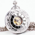 Vintage Retro Antique Silver Stainless-steel Unisex Emboss Mechanical Pocket Watch Pendant Victoria Style Roman Number