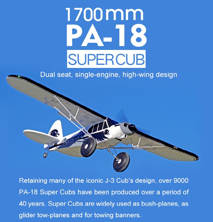 Самолета ФМС RC 1700 мм 1,7 м PA-18 J3 Piper Super Cub 4S 5CH (поплавки опционально) PNP тренер Начинающий модель самолета PA18 J-3