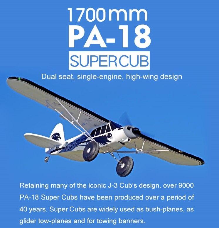 FMS RC Avion 1700 MM 1.7 M PA-18 J3 Piper Super Cub 4S 5CH (Flotteurs en option) PNP Formateur Débutant Modèle Avion Aircraft PA18 J-3