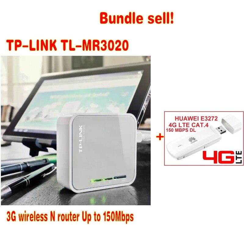 (Vente groupée) TP-LINK TL-MR3020 Portable + Huawei E3272 4G LTE USB Dongle Modem carte SIM