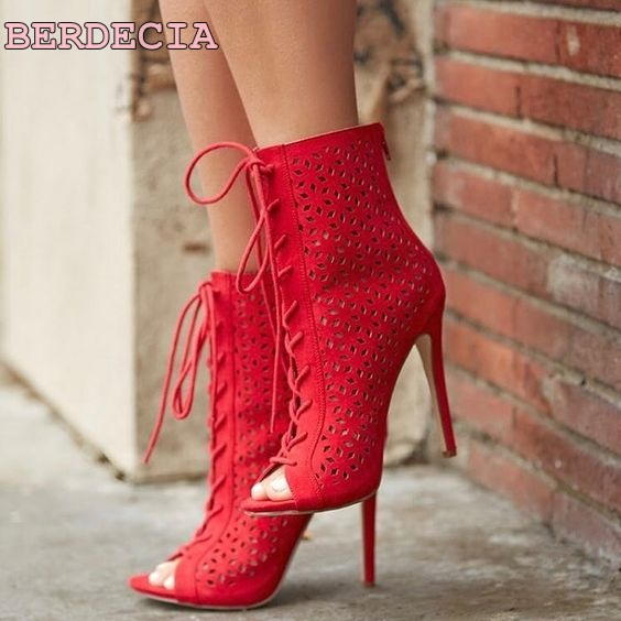 red suede leather hollow out sandal boots peep toe lace up woman shoes cross strap ladies short boots stiletto heel woman boots peep toe stiletto heel hollow out boots