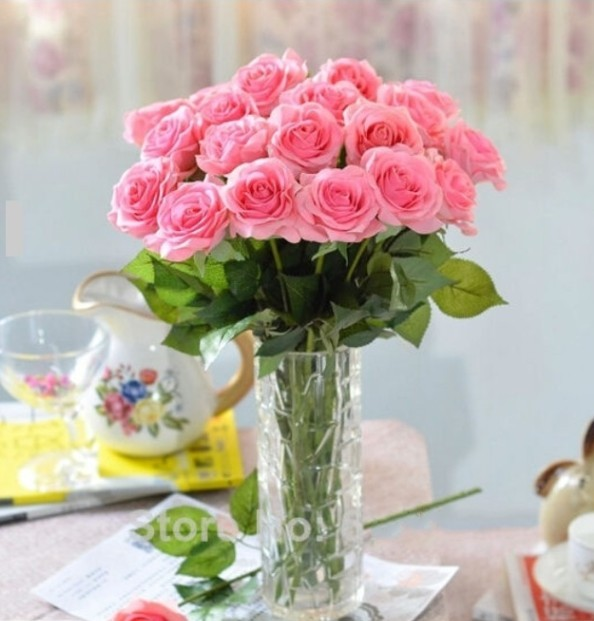 Ivory Pink Real Touch Artificial Latex Roses Flowers Wedding Party Home Decoration Rose Flower Fl