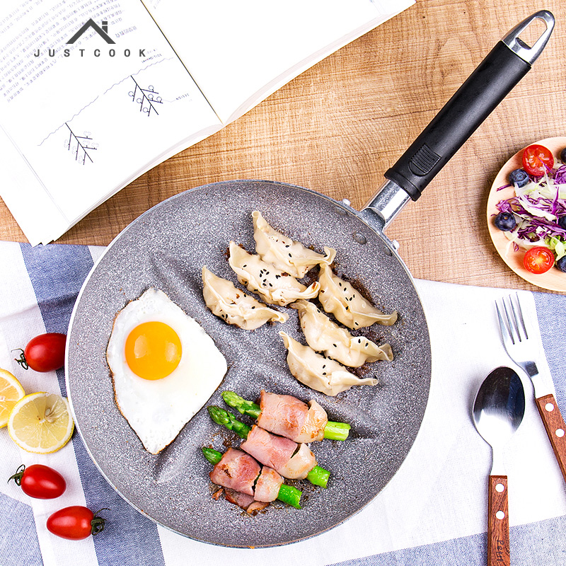 Justcook 26 CM Breakfast Frying Pan Non-Stick 3 In 1 Frying Pans No Oil-smoke Gas Cooker For Fried Eggs Bacon Sausage